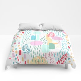 Abstract Nature - Colourful Doodle Pattern 3 Comforters