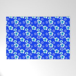 Blue Floral And Turtles Hawaiian Pattern Welcome Mat
