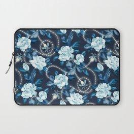 Midnight Sparkles - Gardenias and Fireflies in Sapphire Blue Laptop Sleeve