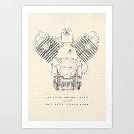 Original technical drawing, Moto Guzzi poster, engine block, classic motorbike cylinder block, garage decoration, cafe racer, scrambler,  Art Print