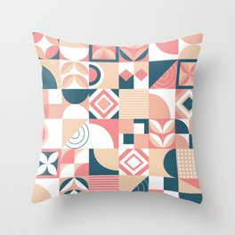 Lovely Geometric Shapes Abstract art in pastel and blue pattern Throw Pillow