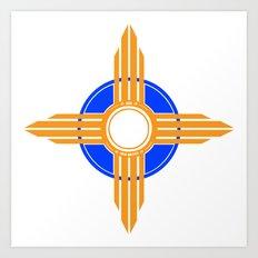 New Mexico Zia - Blue Art Print