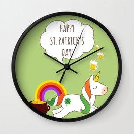St. Patrick's Day Unicorn Wall Clock