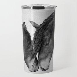 Horses - Black & White 4 Travel Mug
