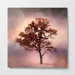 Coral Pink Sunrise Cotton Field Tree - Landscape  Metal Print