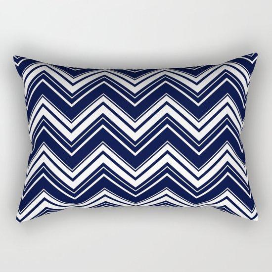Maritime pattern- chevron - white and darkblue Rectangular Pillow