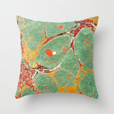 Marbled Green Orange 2A Throw Pillow