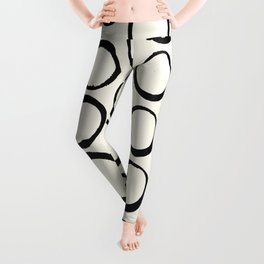 Polka Dots Circles Tribal Black and White Leggings