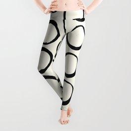 Polka Dots Circles Tribal Black and White Leggings