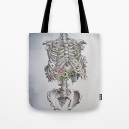 Floral Anatomy Skeleton Tote Bag