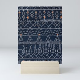N53 - Blue Indigo Oriental Antique Traditional Moroccan Style Artwork Mini Art Print