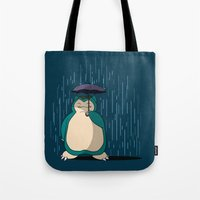 snorlax Tote Bags featuring My Neighbor Snorlax by EnoLa