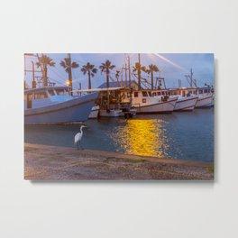 Heron in Marina Metal Print