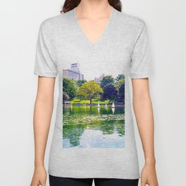 An Afternoon in Central Park Unisex V-Neck