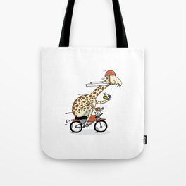 Giraffe on a motorbike eating a cheese sandwich... Tote Bag