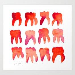 Red Watercolor Molars Art Print