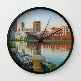 Cleveland Ohio Lake Erie View of City Wall Clock
