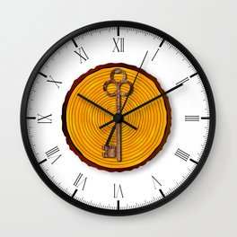 Key on Sawn Timber Wall Clock