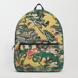 Frog Battle Japanese Print by Kawanabe Kyosai, 1864 Backpack