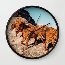 Wild Horses On Flowers Wall Clock