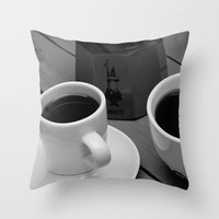 coffe Throw Pillows featuring Coffe for two by Camaracraft
