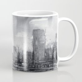 Seattle Skyline Painting Watercolor Black and White Space Needle Coffee Mug