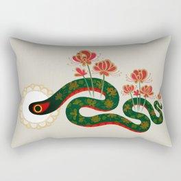 Snake and flowers Rectangular Pillow