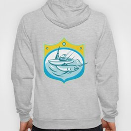 Blue Marlin Charter Fishing Boat Retro Hoody
