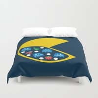8 bit Duvet Covers featuring 8-Bit Breakfast by Byway