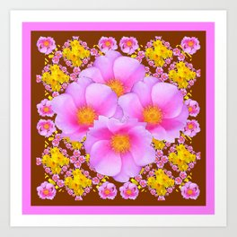 Chocolate Brown Pink Wild Roses Pattern Art Art Print