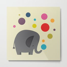 Bubbles the Elephant Metal Print