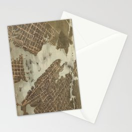 Vintage Map of Norfolk and Portsmouth VA (1873) Stationery Cards