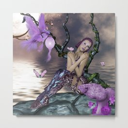Wonderful fairy with fantasy bird Metal Print