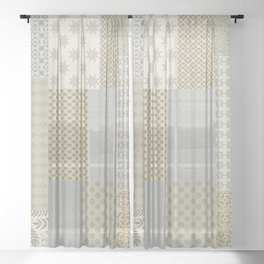 Modern Farmhouse Patchwork Quilt in Gray Marigold and Oatmeal Sheer Curtain