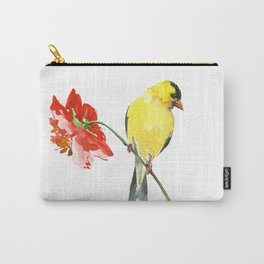 American Goldfinch and Red Flower Carry-All Pouch