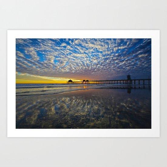 Huntington Beach Sunset  3/3/14  Art Print