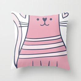Cartoon Cute Cat Throw Pillow