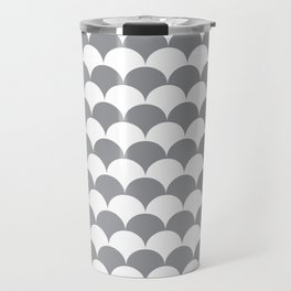 Grey Fan Shell Pattern Travel Mug