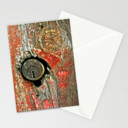 Weathered Wood Texture with Keyhole Stationery Cards
