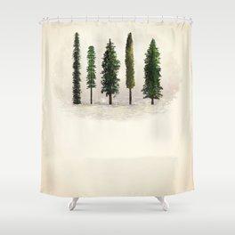 Ecru Forest Pines Shower Curtain