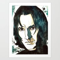 snape Art Prints featuring Professer Snape by Boni Dutch
