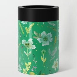Verdant Flowers on Emerald Background Can Cooler