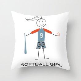 Funny Womens Softball Girl Throw Pillow
