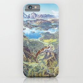 Heinrich Berann - Panoramic Painting Yellowstone National Park (1991) iPhone Case