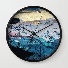 Twilight: a beautiful, abstract watercolor + mixed-media piece in blue, gold, purple, pink, + black Wall Clock
