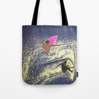 surfing Tote Bags featuring SURFING by aztosaha