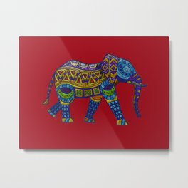 Colorful metallic ethnic elephant Metal Print