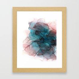 Blue, Black & Pink Alcohol Ink Painting Framed Art Print