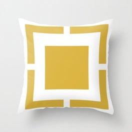 Squared . Minimalist Geometric Design in Mustard Yellow and White Throw Pillow
