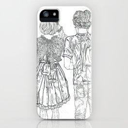 Geometric Japanese Black and White Linework Love couple iPhone Case